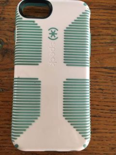 iPhone six s phone case pale pink and turq accents