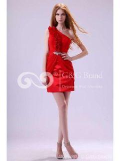 Massoo Red Chiffon Column Cocktail Dress Mini with Ruching MS11EI917