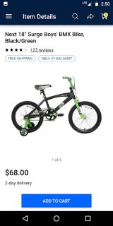 "Boy's NEXT Surge 18"" Bike (Bicycle) LOOKS NEW (Includes Training Wheels)"