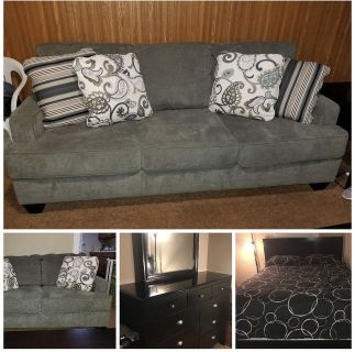 Sofa, loveseat, dresser, and frame (NO mattress) included