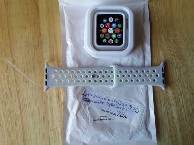 Apple Watch band and case 42mm grey and white sport silicone sz s/m