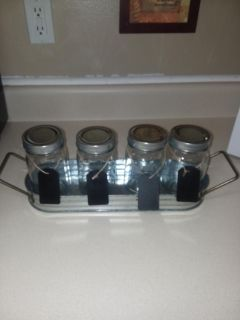 BRAND NEW QUART SIZE MASON JARS N GALVINIZED TRAY