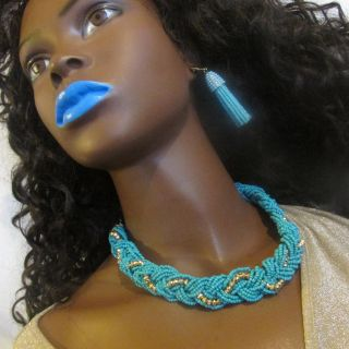 Jewlry Set-Blue Beads interlaced with gold.