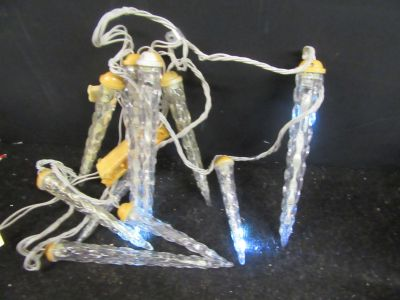 """used 8' long set of 10 outdoor dripping icicle lights various icicle lengths 7 1/2 , 9 1/2, 10 1/2"""" #2"""