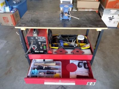 Portable welder and cart + tools