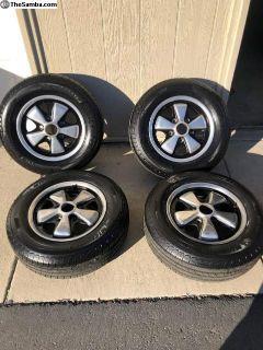 Set of 14x5.5 Porsche FUCHS w/ new Michelin Tires