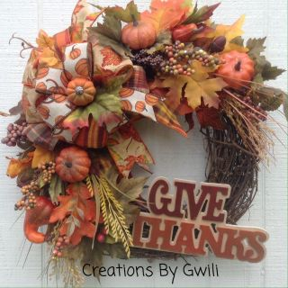 Grapevine Wreath-Give Thanks