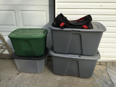Lot of 4 Totes and Good Size Tool Bag