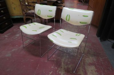 Vintage Mid century pair of kitchen chrome chairs
