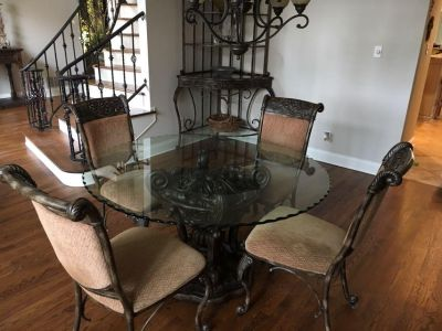 Ornate Dining Table, 4 Chairs, & corner rack