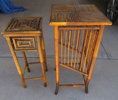 2 bamboo stands/tables