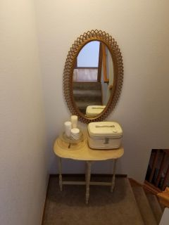 Table, vintage mirror, candles, glass tray, train case $80 for Everything