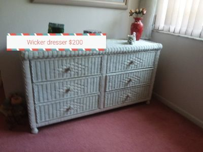 Dresser white wicker