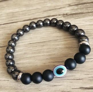 Men's Evil Eye Hematite & Onyx Bracelet | One size fits most stretch band.