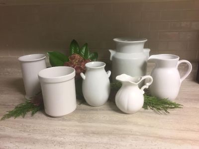 Vintage White Ironstone & Pottery Crocks & Pitchers. $15-$25 each. CP.