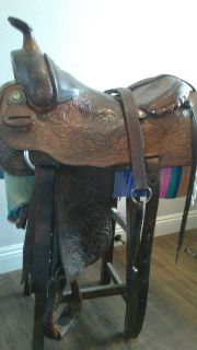 "Billy Cook 16"" Hand Made Saddle with Breast Collar"