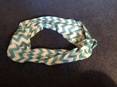 Women s teal blue and white chevron infinity scarf