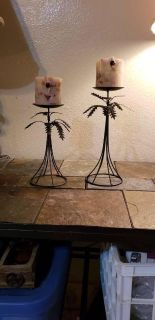 Palm tree candle holders with candles