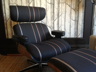 Eames-ish chair and ottoman in Paul Smith fabric