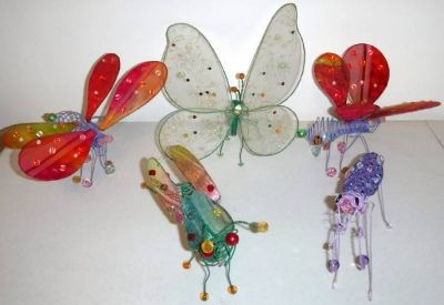 5 Wire / Mesh Insect Bug Whimsical Home Decor ~Butterfly Firefly +