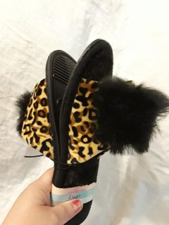 New cheetah slippers size small