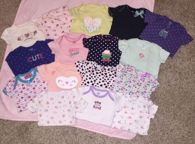 (( 16-Count. )) EUC Babygirl Onesies. - - - 6 months and 9 months.