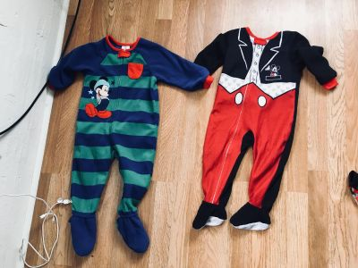 Boys . Mickey Mouse fleece sleepers size 18-24 Months $3 Each Or $5 takes both .