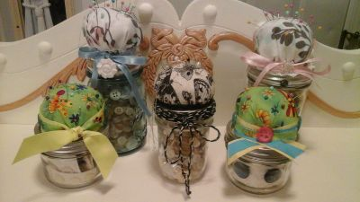 Mason Jars Filled the Vintage Buttons/Sewing Supplies Pin Cushions Made/Assembled ...