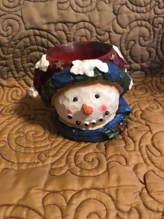 Rustic Looking Snowman Candle Holder Swap Only