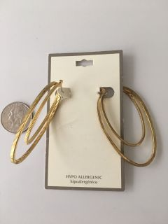 Large Gold Hoops. Worn Once. D