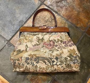 Lucite & Tapestry Pouch Purse