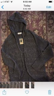 BRAND NEW WITH TAGS, GREAT looking beautifully patterned knit hooded sweater coat, Sz L