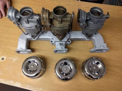 Sell Chevy 6 cylinder 63+ 230-292 ci tri carb intake with one bbl rebuildable cores motorcycle in Dedham, Massachusetts, United States