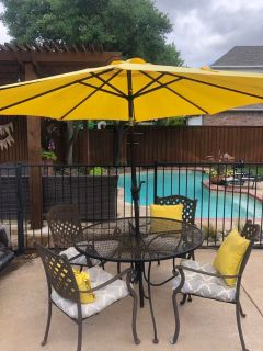 Patio Table, Chairs, Umbrella, Cushions, Outdoor Pillows, Coffee Table and Side Table