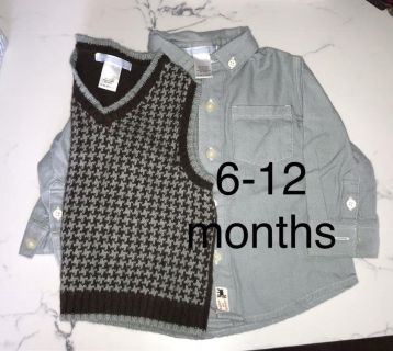 Janie and Jack infant 6-12 month collared dress shirt, and sweater vest