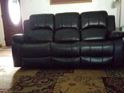 Black Leather Reclining Sofa & Loveseat