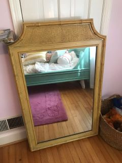 Faux bamboo mirror with cane detail