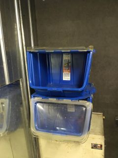 2 bins. Open from side. Stackable. Blue. Clear window.