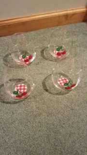 NEW Set of 4 Stemless Glasses with Cherry design