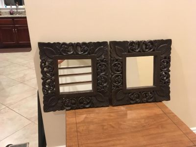 Beautiful Set of Two Matching Carved Wood Mirrors