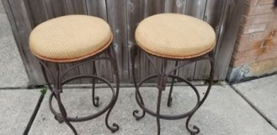 2 Wrought Iron Bar Stools 30in.
