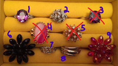 Lot of 6 Costume Rings, Various Designs, Colors and Sizes (18-211)