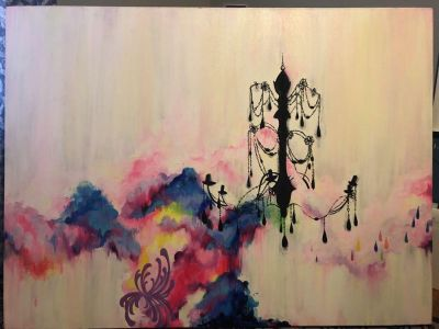 Large stretched canvas painting