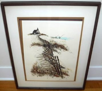 "Vintage Signed Gary Hinte Color Serigraph ""Captain's House"" Framed Art"