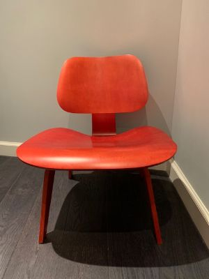 Eames Molded Red Plywood Lounge Chair