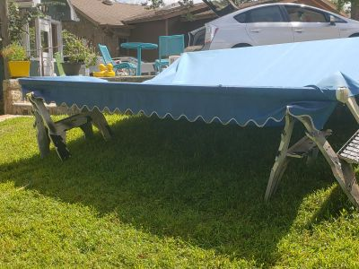 Shade crankable patio/deck awning blue
