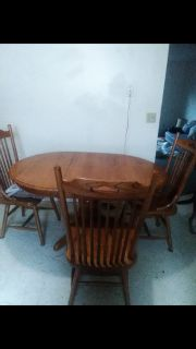 Solid Wood Kitchen Table with Four Chairs