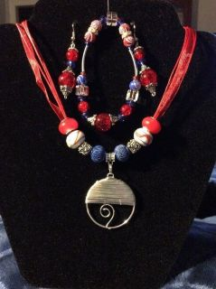 Crafted Hand Made Jewelry.Red&Blue