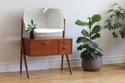 Mid Century Danish Modern Swivel Mirror Vanity