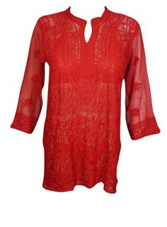Short Tunic Embroidered Sheer Georgette Blouse for Women